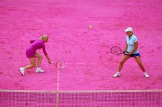 Bright pink court in honor of Women's Day. June 7, 2012