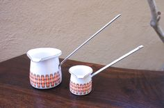 Vintage Set of White Butter Warmers with Mid Century Modern orange and brown design