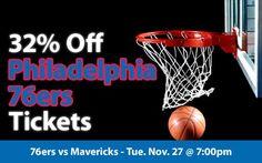 32% off Philadelphia 76ers Tickets vs Dallas Mavericks Tue. Nov. 27 @ 7:00pm
