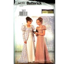 Vintage BUTTERICK 6630 Making History Ladies Regency Dress Costume Extravagent Accurate Period great for Fancy Dress!