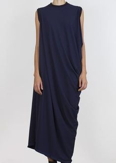 Asymmetrical full length tank dress in ultralight technical fabric. Selvedge finish at hem. Model is tall. Tank Dress, My Style, Black Style, Most Beautiful, Casual Outfits, Women Wear, Navy, Model, Dark Side