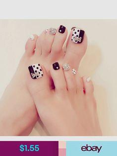 Black & white rhinestone fake toe nails in 2019 faux toe nai Pretty Toe Nails, Cute Toe Nails, Toe Nail Art, My Nails, Acrylic Nails, Pedicure Designs, Toe Nail Designs, Nail Store, Pedicure Nails