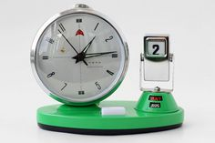 Vintage Mechanical Alarm Clock with Flip Calendar