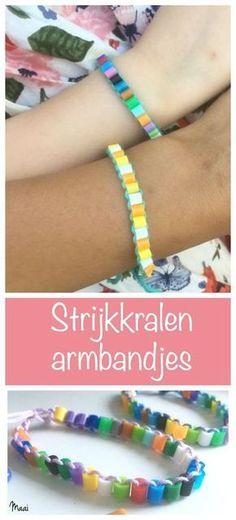 Vrolijk zomerse armbandjes maken door strijkkralen te rijgen - knutselen met kinderen - hamabeads