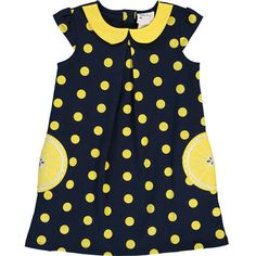 Navy Lemon Polka Dot Dress Polka Dot Print, Polka Dot Top, Day Dresses, Summer Dresses, Tk Maxx, Lemon Yellow, Dot Dress, Cap Sleeves, My Girl