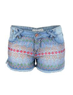 Shorts Jeans Bordado Colorido Bebela