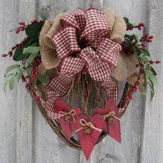 Valentine Heart Wreath, love the combination of gingham ribbon with burlap.