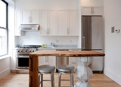 Good use for the Myrtle wood slab. Studio: Kitchen - eclectic - kitchen - new york - The Brooklyn Home Company One Wall Kitchen, Kitchen Dining, Kitchen Cabinets, Bar Kitchen, Shaker Cabinets, Kitchen White, Kitchen Layout, White Cabinets, Kitchen Interior Inspiration