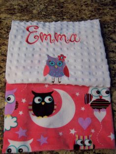 Soft personalized double sided minky fabric by PreciousLoveDesigns, Not only is the name embroidered, so is the owl.