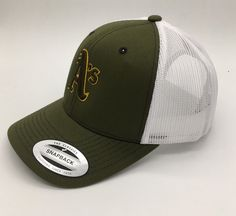 c71145849d1 MLB Oakland Athletics Original 3D embroidered Trucker Hat in Olive Khaki  White