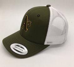 c71145849d1 MLB Oakland Athletics Original 3D embroidered Trucker Hat in Olive Khaki  White