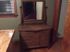 Antique, refinished wash stand, dresser with mirror.