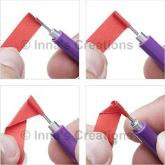 """Folded rose, steps 1-4 (written directions on post)---""""In order to create a rose like one in the picture, you will need a 3/8""""-wide (~1 cm), 12""""-long (~30 cm) strip of paper, a quilling tool and glue."""""""