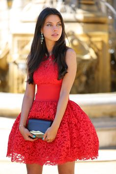 Red fit & flare dress. So lovely!