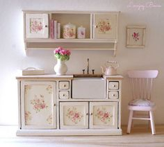Adorable miniature dolls house shabby chic kitchen