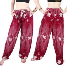 MY HOPE Thai Elephant Pants Hippie Women Harem Trousers Pantaloons Gold Red Color