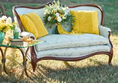 Loveseat and pillows from Red Roof Farm Vintage Rentals make a beautiful combination Sage Wedding, Red Roof, Vintage Furniture, Love Seat, Celebration, Reception, Couch, Pillows, Beautiful
