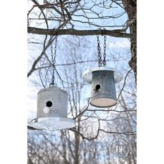 Bird houses made from galvanized buckets + a round-up of some other DIY projects made from different sized galvanized buckets - via The Cottage Market