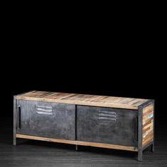 Meuble télévision avec porte coulissante style casier en métal et bois recyclé de vieux bateaux | Artemano