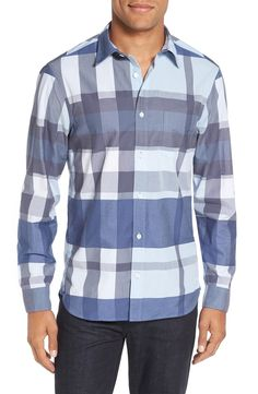 The hubby will look dashing in this Burberry trim fit sport shirt from the Nordstrom Anniversary Sale. Bold, oversized checks in shades of blue define this long-sleeve shirt.