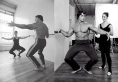 Arnold Schwarzenegger takes a ballet lesson from dancer Marianne Claire. October 4th, 1976