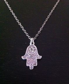 Hamsa Hand Necklace ~ Silver or Gold ~Turkish  Fatima Protection Jewelry Happiness Good Fortune Good Health