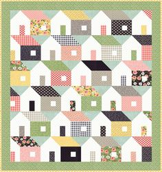 Moda Home Again Quilt Kit Farmers Daughter Fabric by Lella Boutique 64 x 68 by PrivateSourceQuiltin on Etsy House Quilt Patterns, House Quilt Block, Quilt Block Patterns, Quilt Blocks, Patch Quilt, Sampler Quilts, Star Quilts, Scrappy Quilts, Mini Quilts