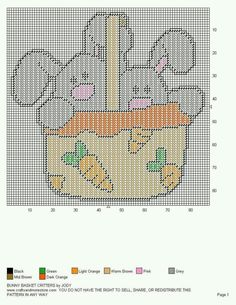 BUNNY BASKET CRITTERS by JODY -- WALL HANGING