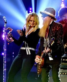 Miranda Lambert and ZZ Tops Billy Gibbons. One time performance together at the ACMs 2016