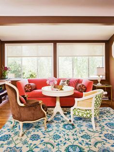 Don't be afraid to play with patterns! More color schemes: http://www.bhg.com/decorating/color/schemes/cozy-color-schemes-for-every-room/?socsrc=bhgpin100613chocolatechair&page=20