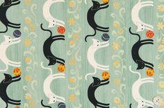 HALF YARD Quilt Gate Hyakka Ryoran NEKO cats in mint by kimonomomo