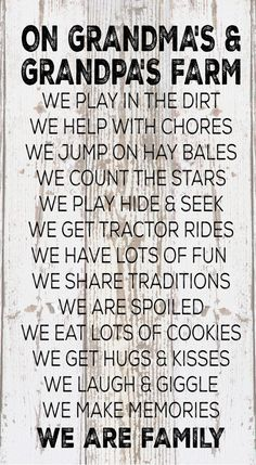 Mother's Day Gift - On Grandma & Grandpa's Farm Rules Wood Sign, Canvas Wall Art, Banner - Christmas, Birthday, Grandparent's Day,