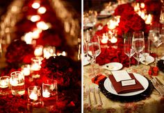 Red Roses wedding centerpieces not as centerpieces but on the tables