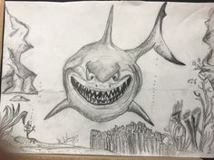 Had to finish this sketch of Bruce from Finding Nemo before heading out to Starbucks for my quick coffee.  I was asked to draw this with just a graphite pencil and plain white paper. I will be drawing another one for my gallery and it will be colorized.   Thanks for all your continued support Folks!!