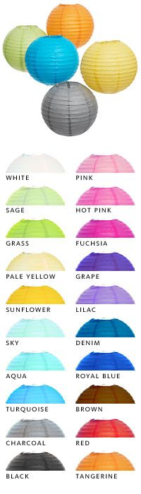 "10"" paper lanterns, 20 colors, $2 each! We KNOW you guys can do something awesome with these!"