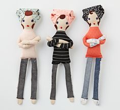 Mollie Makes 'Rock-a-Billy Betty' Dolls - think they are too, too cute, great for HotRod dolls too