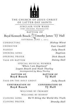 Baptism Program Lds Template