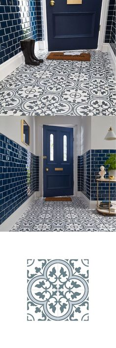 Inspired by the popular encaustic tiles of yesteryear, these Ledbury Marina Blue. Inspired by the popular encaustic tiles of yesteryear, these Ledbury Marina Blue Tiles are perfect for introducing a characterful statement floor or f. Tiled Hallway, Hallway Flooring, Kitchen Wall Tiles, Kitchen Flooring, Design Living Room, Living Area, Living Rooms, Encaustic Tile, Dark Walls