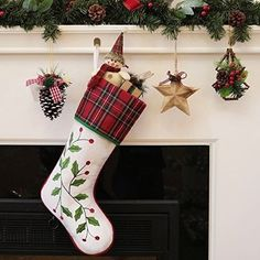 Valery Madelyn 21 Trendy Red and Green Tartan Christmas Stocking for sale online Tartan Christmas, Christmas Stockings, Holly Leaf, Xmas Gifts, 21st, Leaves, Luxury, Holiday Decor, Bag