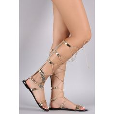 Qupid Metallic Jelly Strappy Lace Up Gladiator Flat Sandal ($37) via Polyvore featuring shoes, sandals, strappy gladiator sandals, jelly flat sandals, lace up flat sandals, metallic strappy sandals and strappy lace up sandals
