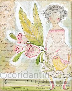 portrait of a girl with flowers - folk  painting - watercolor - archival - limited edition - 8 x 10 print by cori dantini