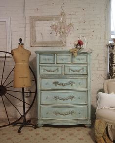 Painted Cottage Shabby Aqua Chic Romance Dresser In Home Garden Furniture Beds Mattresses Headboards Footboards