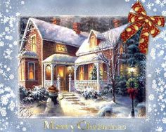 Thomas Kinkade Christmas Time Cross Stitch Pattern***L Christmas Desktop, Christmas Scenes, Victorian Christmas, Christmas Music, Christmas Wallpaper, Vintage Christmas Cards, Christmas Pictures, Country Christmas, Winter Christmas