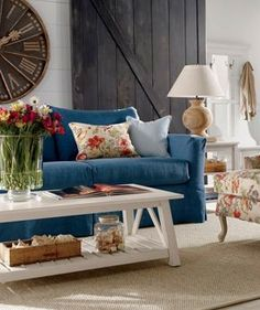 A Delightful Design: blue sofa & grey walls