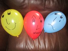 """In counseling children, we have found feeling balloons very useful. We found the 20"""" balloons the best as they deflate slowly and can be reused for multiple days in a row. Red for angry feelings, blue for sad and yellow for happy. 1.Have the child pick which balloon represents how they feel. 2.Pass the sad balloon around and ask the child when they feel sad. Repeat with other balloons. 3.Describe an event - and ask the child to select the balloon that would describe feeling."""