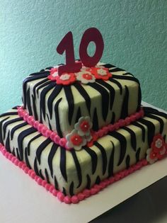 Fondant tiered birthday cake.