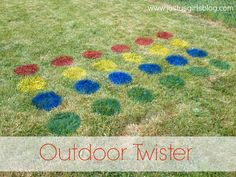 Just Us Girls: DIY - Outdoor Twister  @bellaluna8808 can we do this for Allie's party? Or would your dad freak out if we painted the grass?