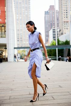 Giovanna Battaglia in a sexy shirt dress. Effortless chic! For more inspiration, click here: www.hercouturelife.com