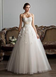 Duchesse-Linie Herzausschnitt Bodenlang Tüll Brautkleid mit Rüschen…