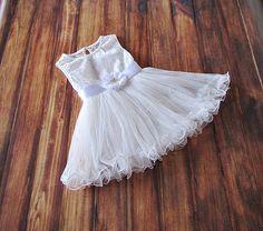 White flower girl dressgirls white dresswhite tulle